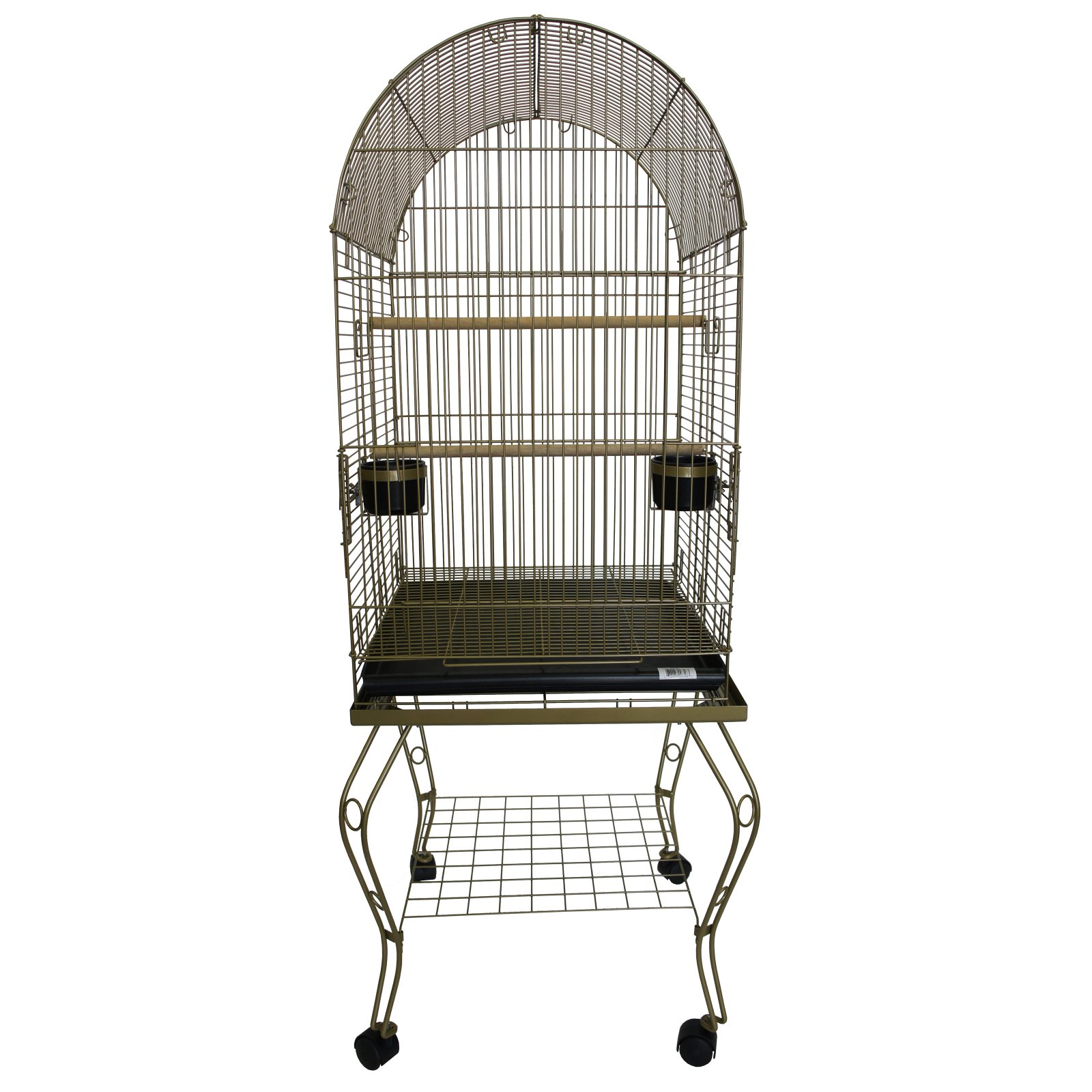 YML 20 in. Dometop Parrot Cage With Stand - Gold