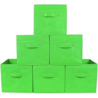 Greenco Foldable Fabric Storage Cubes, 6 Pack, Green