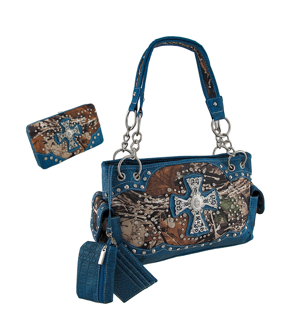 Forest Camouflage Filigree Cross Studded Concealed Carry Purse And Wallet