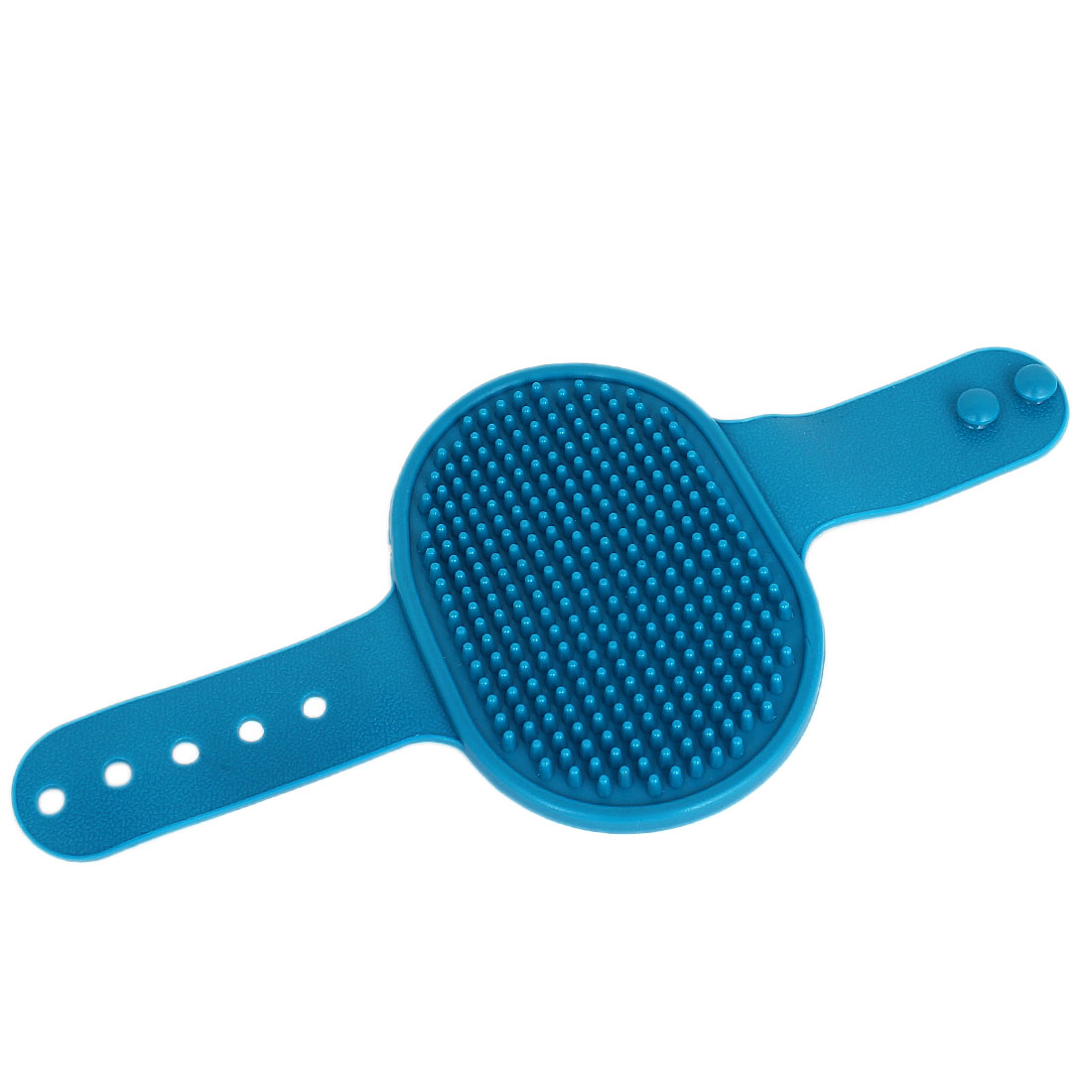 Unique Bargains Pet Dog Cat Adjustable Rubber Bathing Grooming Glove Brush Cyan