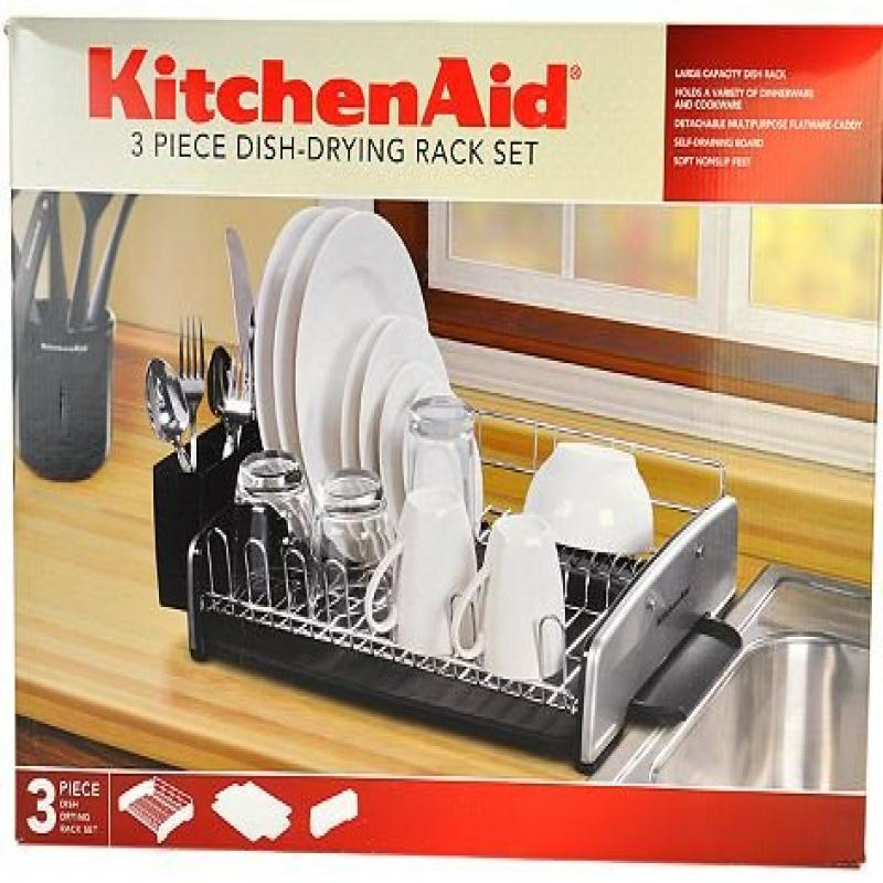 KitchenAid 3 Piece Dish Rack Set, Black