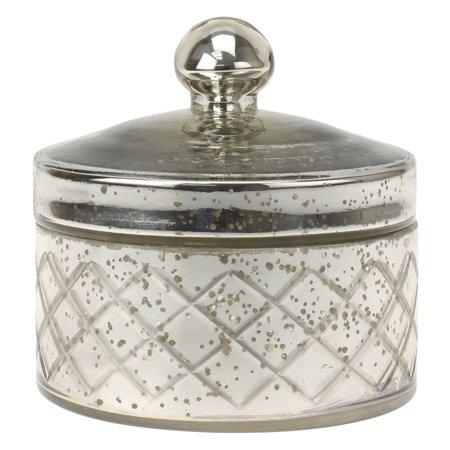 CKK Home Decor Mercury Round Textured Glass Trinket Box Table Vase](Candy Table Vases)