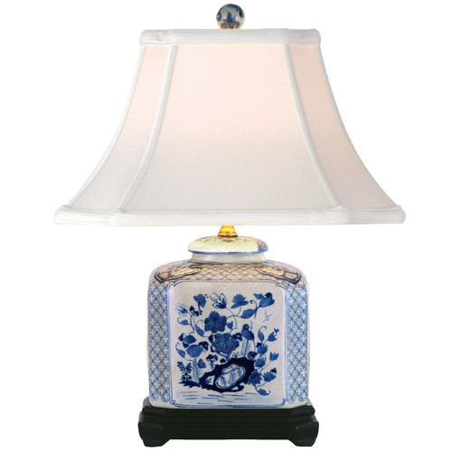 Oriental Furniture Porcelain Flat Jar 24'' H Table Lamp with Bell Shade