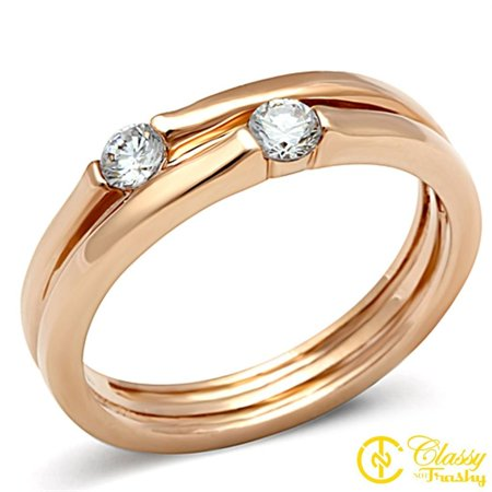 Classy Not Trashy® Size 8 Cubic Zirconia CZ Solitaire Rose Gold Tone Stack Ring Set
