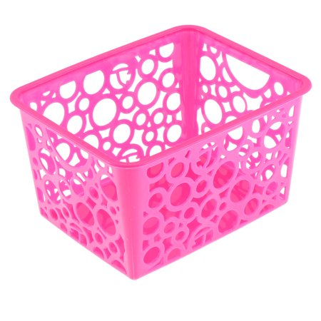Plastic Hollow Out Circle Design Storage Basket 144mmx114mm Fuchsia Atlantic Plastic Media Storage