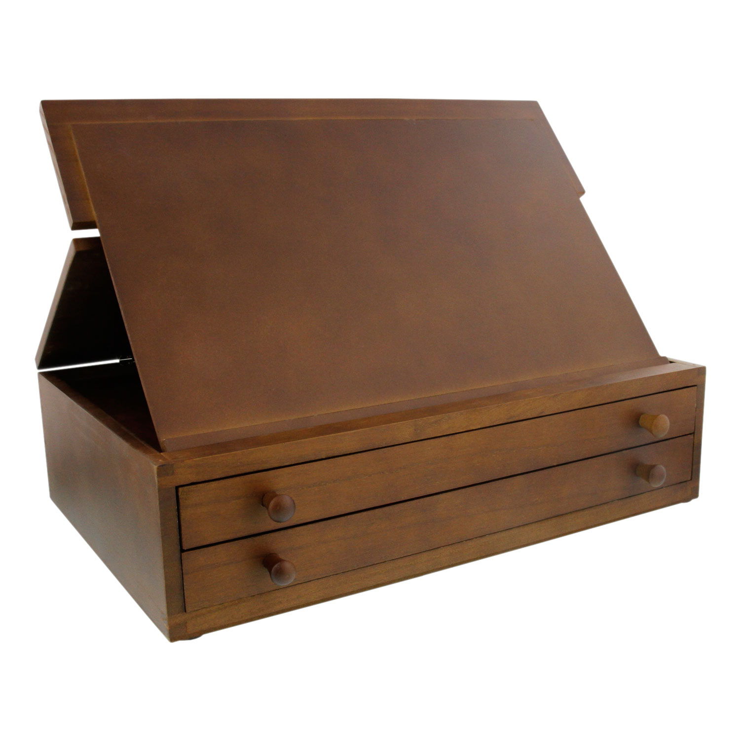 US Art Supply Walnut 2 Drawer Adjustable Wooden Storage Box With Fold Up  Solid Drawing