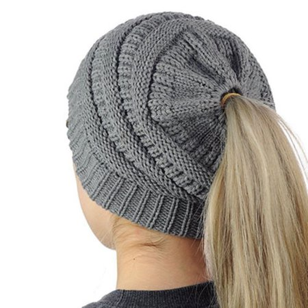 eb5e81066 Lady Beanie Tail Messy Soft Bun Hat Ponytail Stretchy Knit Crochet Skull  Caps