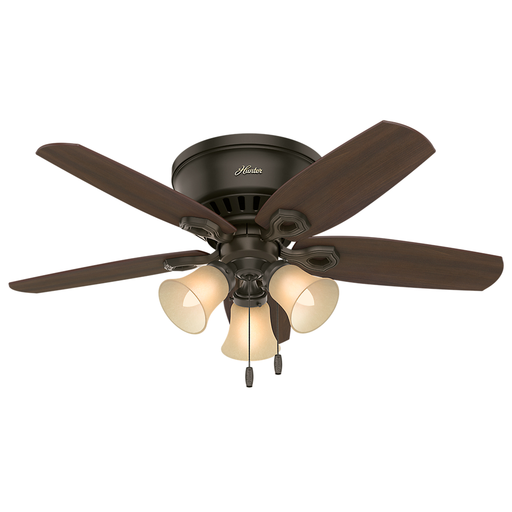 """Hunter 42"""" Builder Low Profile New Bronze Ceiling Fan with Light by Hunter"""
