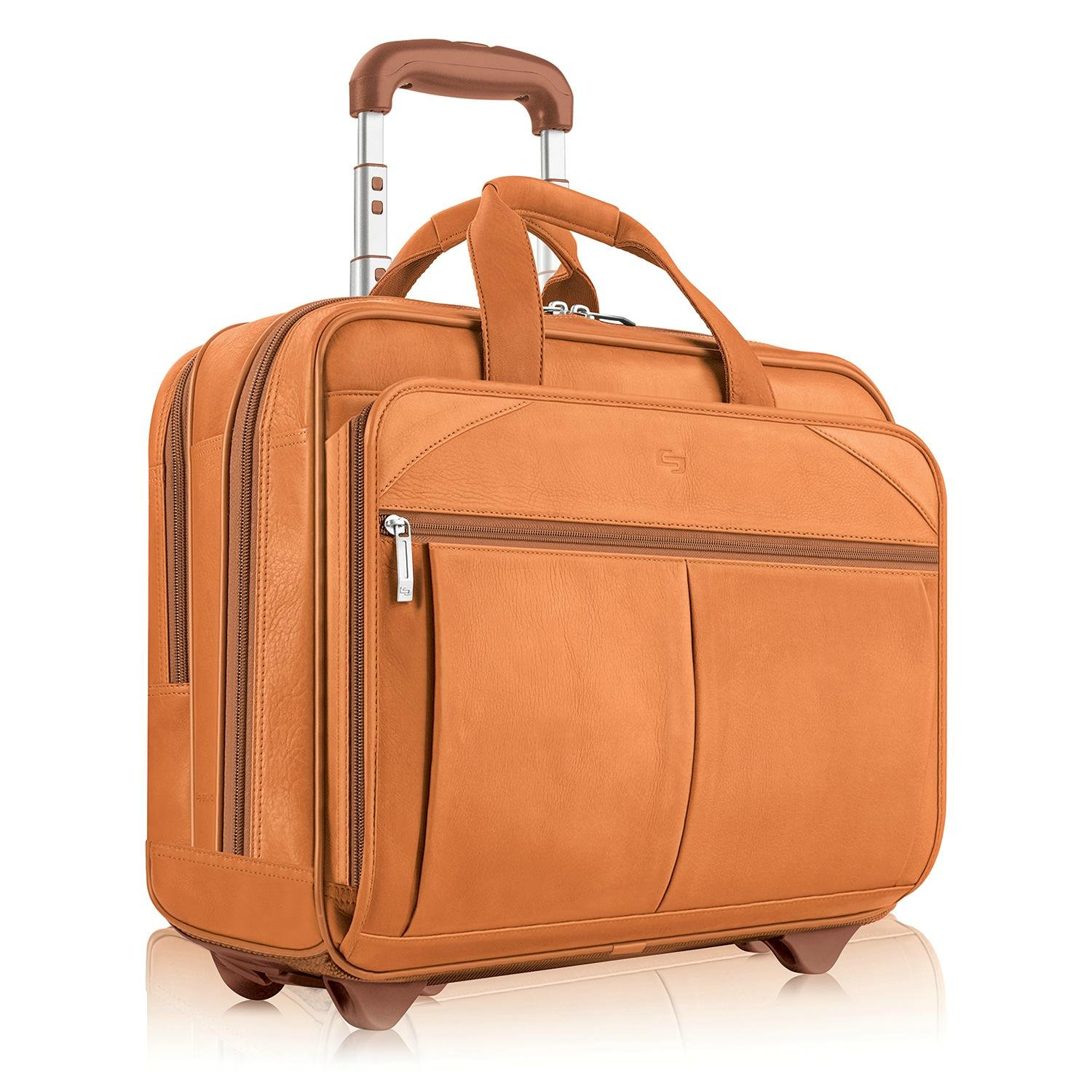 "Solo Classic Carrying Case [roller] For 15.6"" Notebook - Tan - Leather - Checkpoint Friendly - Shoulder Strap, Handle - 13"" Height X 17"" Width X 6.3"" Depth (cqr107-4_25)"