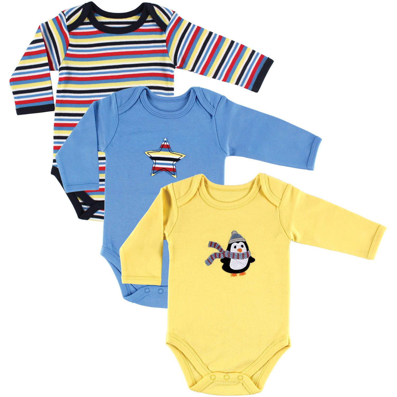 Hudson Baby Newborn Baby Boys Long Sleeve Bodysuit 3-Pack