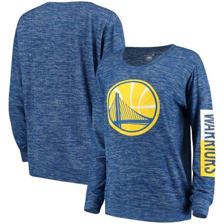 Golden State Warriors New Era Women's Space Dye Knit Tri-Blend Long Sleeve T-Shirt - Heathered Royal (Golden State Warriors New Era)