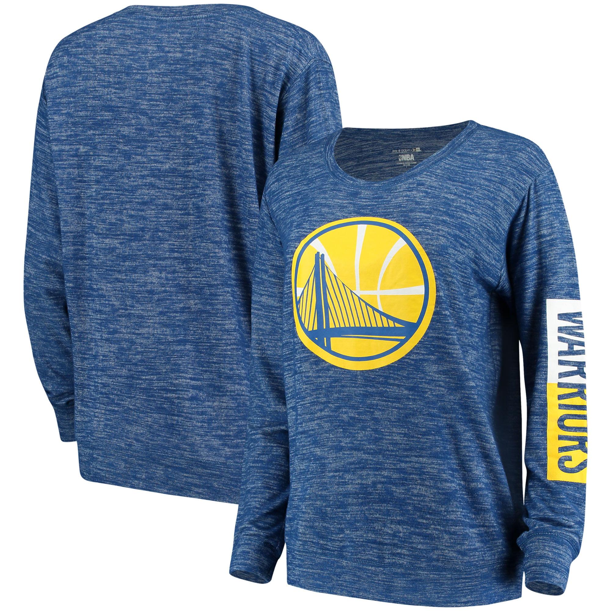 Golden State Warriors New Era Women's Space Dye Knit Tri-Blend Long Sleeve T-Shirt - Heathered Royal