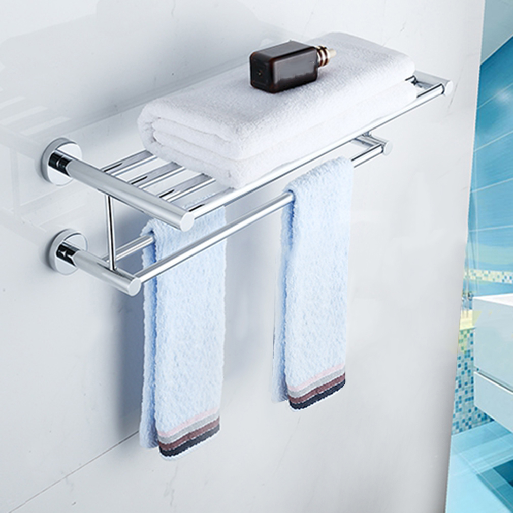 Stainless Steel Towel Rack Stand For Bathroom With Shelf Wall Mounted Towel  Bar Towel Holder Polished