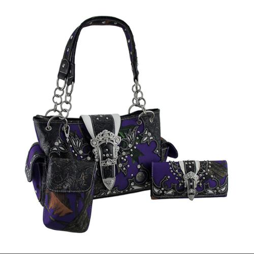 Rhinestone Buckle Embossed Trim Purple Camo Conceal Carry Purse/Wallet Set