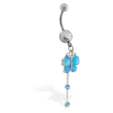 Butterfly Belly Button Ring With Dangling Jeweled Chains