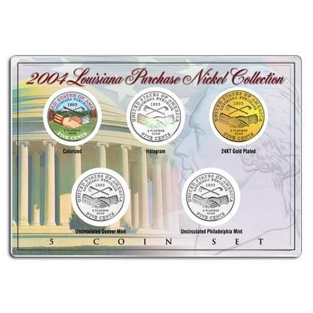 2004 LOUISIANA PURCHASE NICKEL Westward Journey 5-Coin Set P&D Holo Colorize (Westward Journey Nickels)