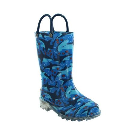Western Chief Unisex Children's Shark Chase Lighted Rain - Master Chief Boots