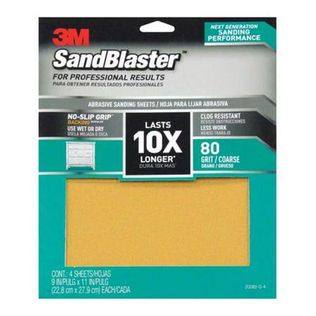 3M 20080-G-4 Papier abrasif SandBlaster avec support non glissant 80 grains 11 x 9 po. - - image 1 de 1