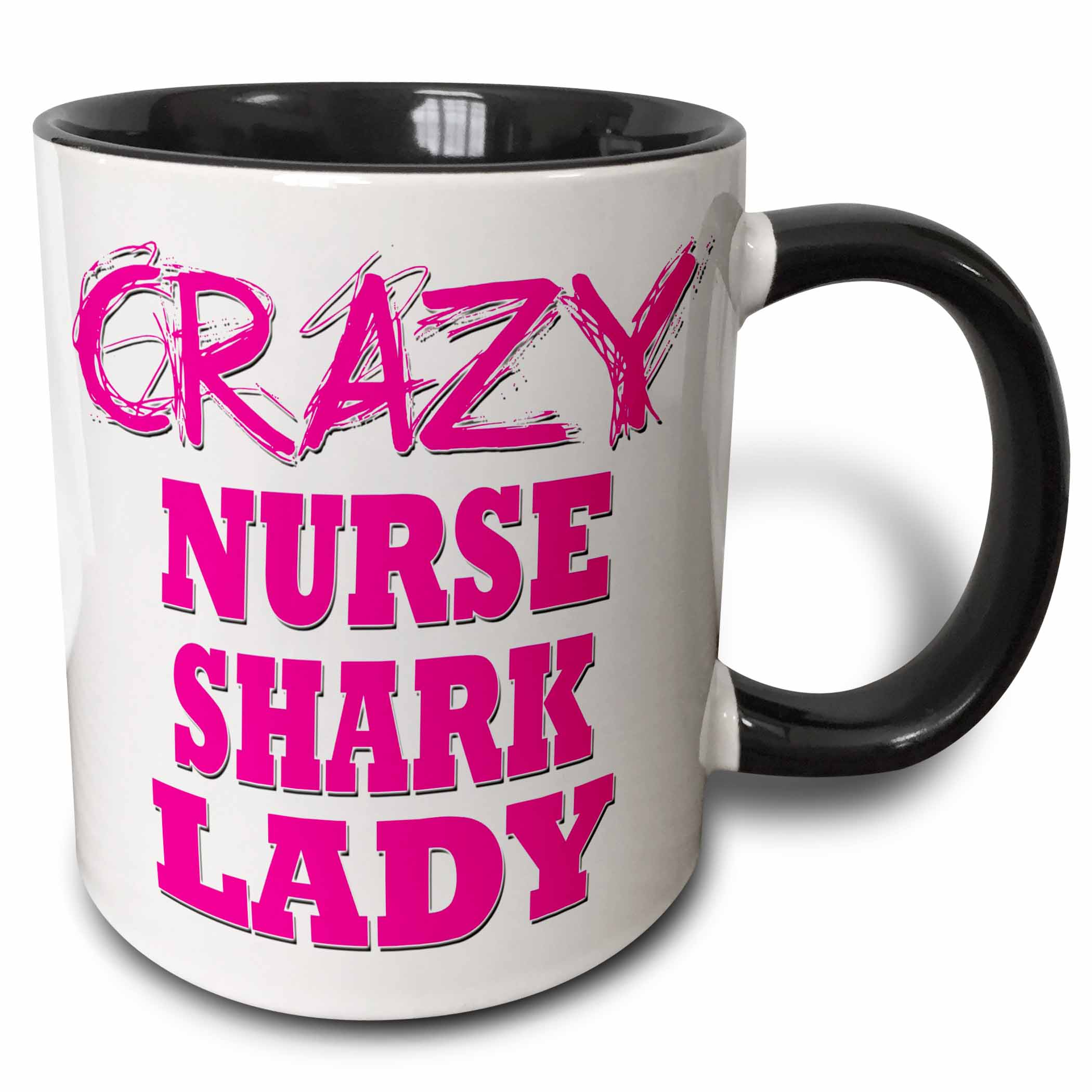 3dRose Crazy Nurse Shark Lady - Two Tone Black Mug, 11-ounce