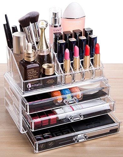 Acrylic 3 Drawers And 16 Grid Makeup Organizer With Cosmetic Storage Cases