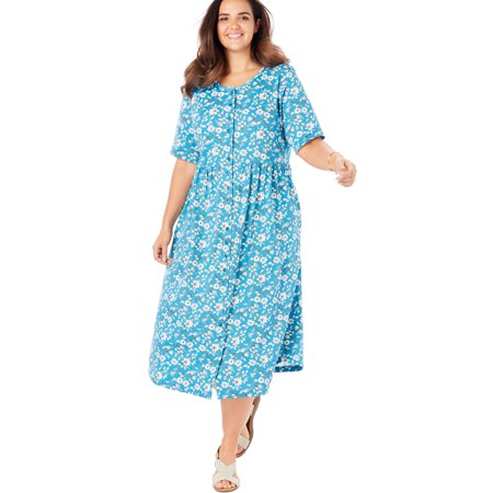 Woman Within Plus Size Button-front Essential Dress
