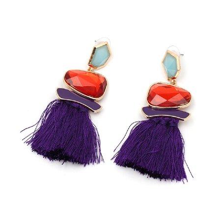 Yacht & Smith Mixed Crystal Tassel Drop Earrings (Purple)