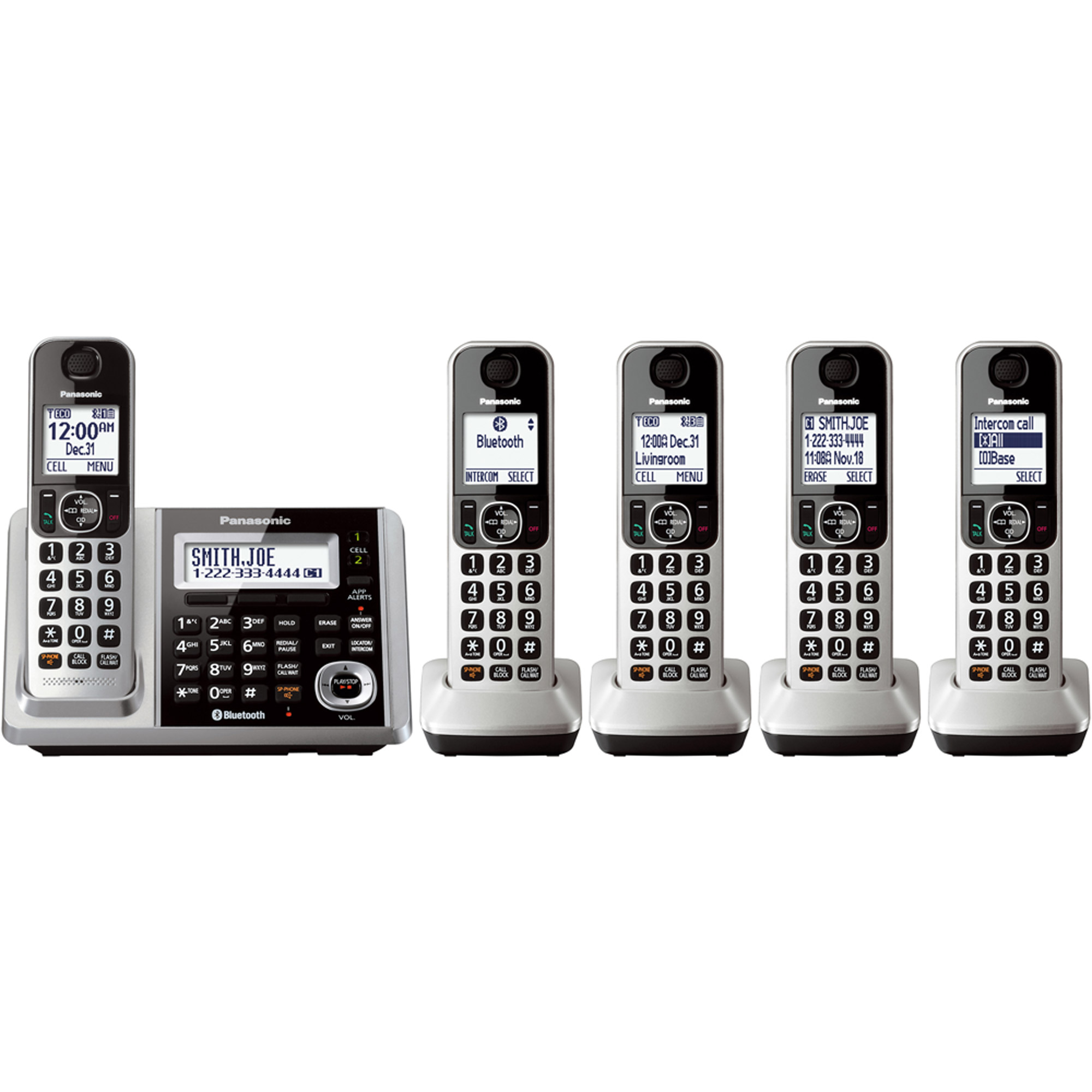 Panasonic Link2Cell Bluetooth Cordless Phone and Answering Machine with 5 Handsets