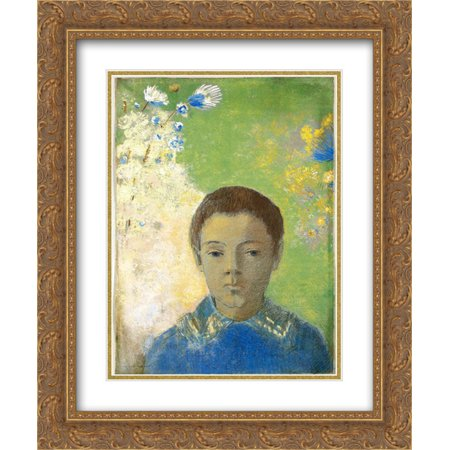 Odilon Redon 2x Matted 20x24 Gold Ornate Framed Art Print 'Portrait of Ari