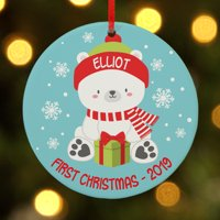 Personalized Baby Polar Bear Round Ornament