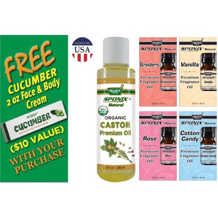 Castor Oil (8 Oz - 236 mL) - Strawberry, Vanilla, Rose & Cotton Candy (10 mL) - Fragrance Oils and Carrier Oil Combo - Fragrance Skincare Kit 4 - with FREE Cucumber Face & Body Cream by Sponix