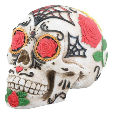Day of the Dead Dod Tattoo Sugar Skull Head Display Decoration, Perfect gift for those that love Day of the Dead (Dia de los Muertos) By - Decorations For Dia De Los Muertos