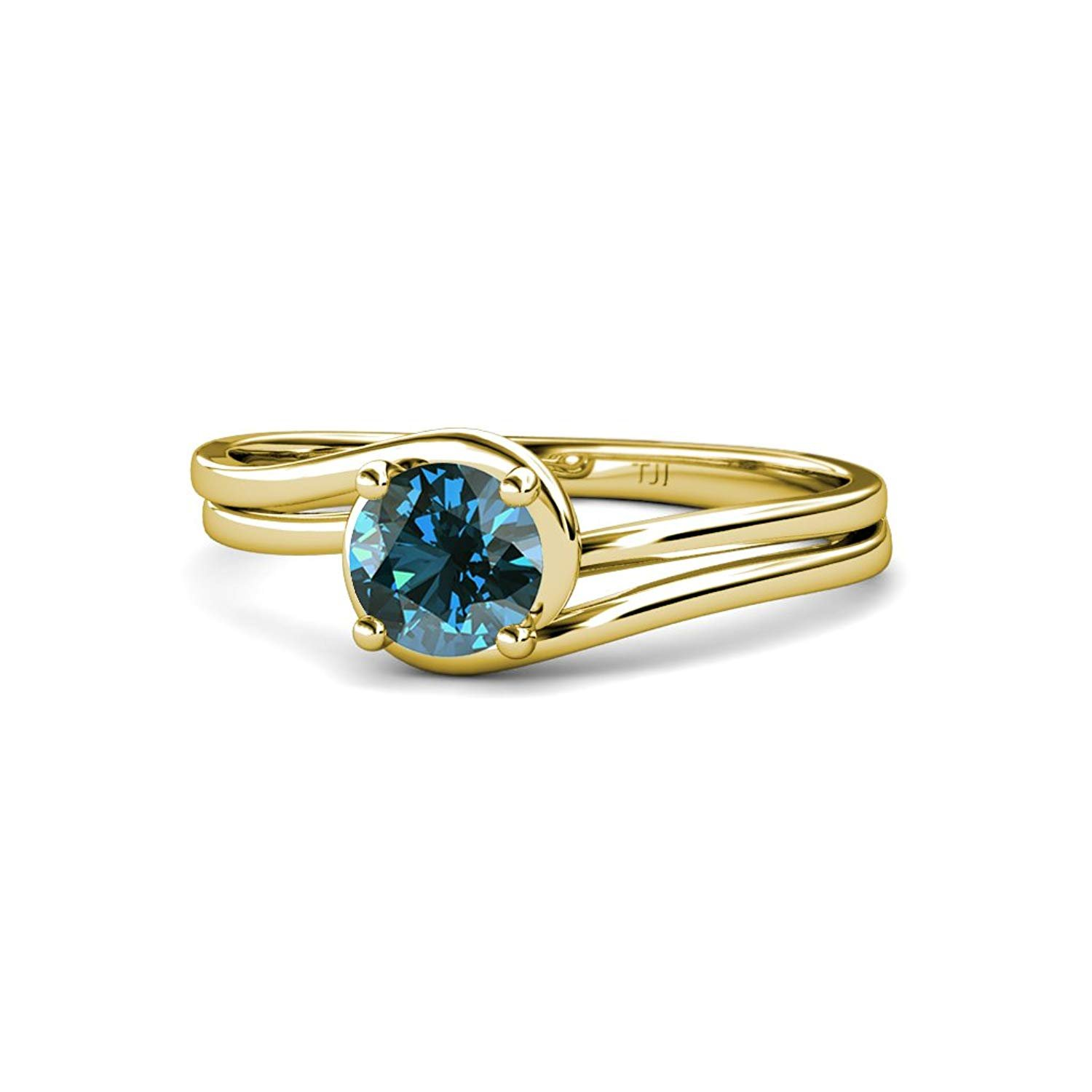 Blue Diamond Bypass Solitaire Engagement Ring 0.63 ct in 14K Yellow Gold.size 8.25 by TriJewels