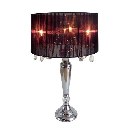 (Elegant Designs Trendy Romantic Sheer Shade Table Lamp with Crystals)