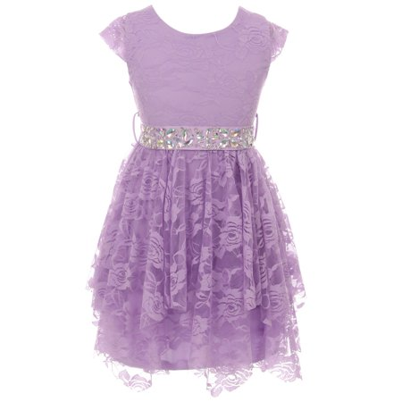 - Little Girls Cap Sleeve Floral Lace Rhinestones Wedding Easter Flower Girl Dress Lilac 4 (2J0K9S5)
