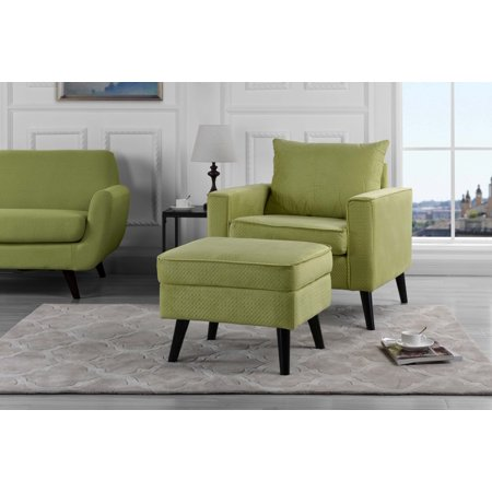 Modern Mid-Century Chair with Ottoman Set, Storage, Brush Microfiber Upholstery, Green ()