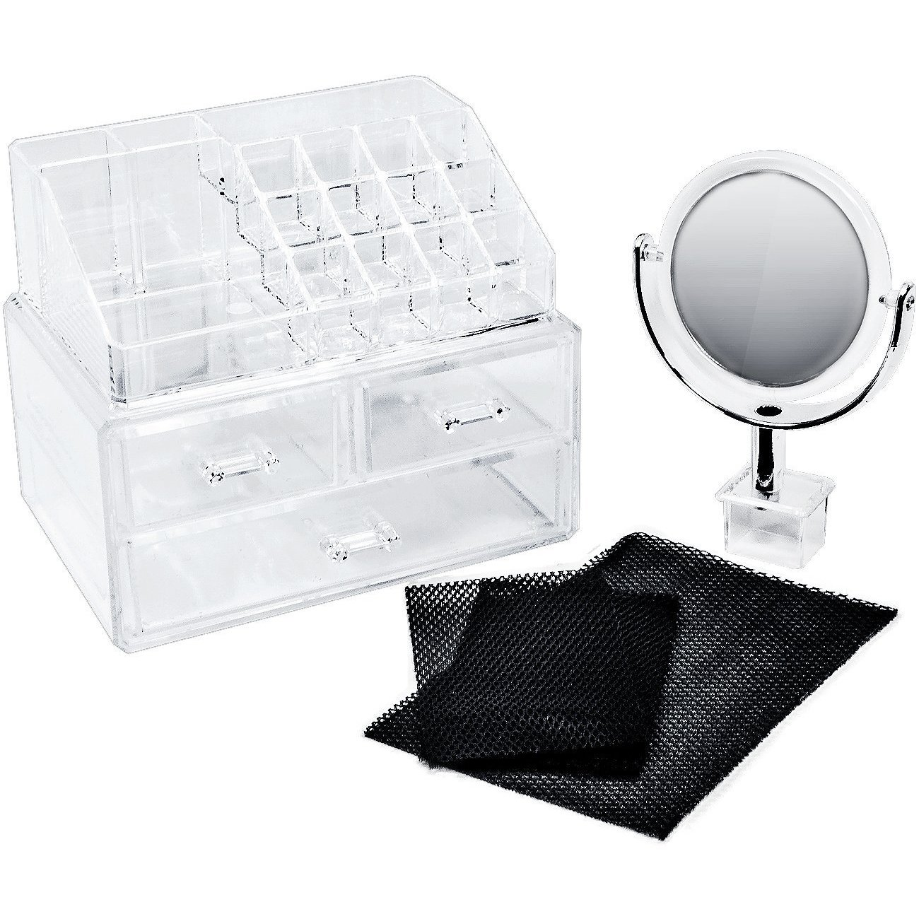 Sorbus Acrylic Cosmetic Makeup and Jewelry Storage Case Display with Removable Magnifying Mirror, Spacious Design