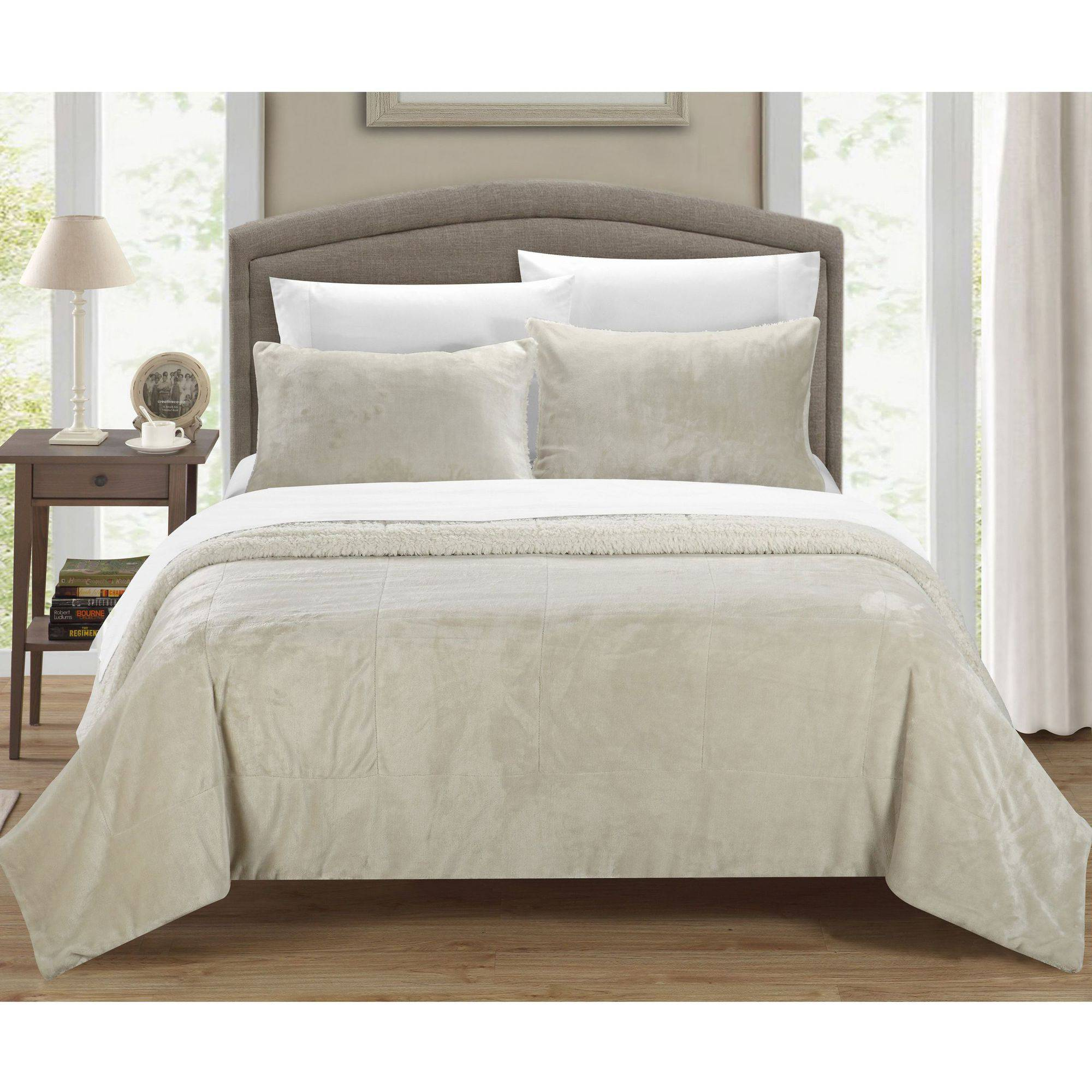 Chic Home Evie 3-Piece Plush Microsuede Sherpa Blanket