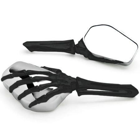 Krator Black Chrome Skeleton Hand Motorcycle Mirrors For Honda Cmx 250 450 Rebel Fury