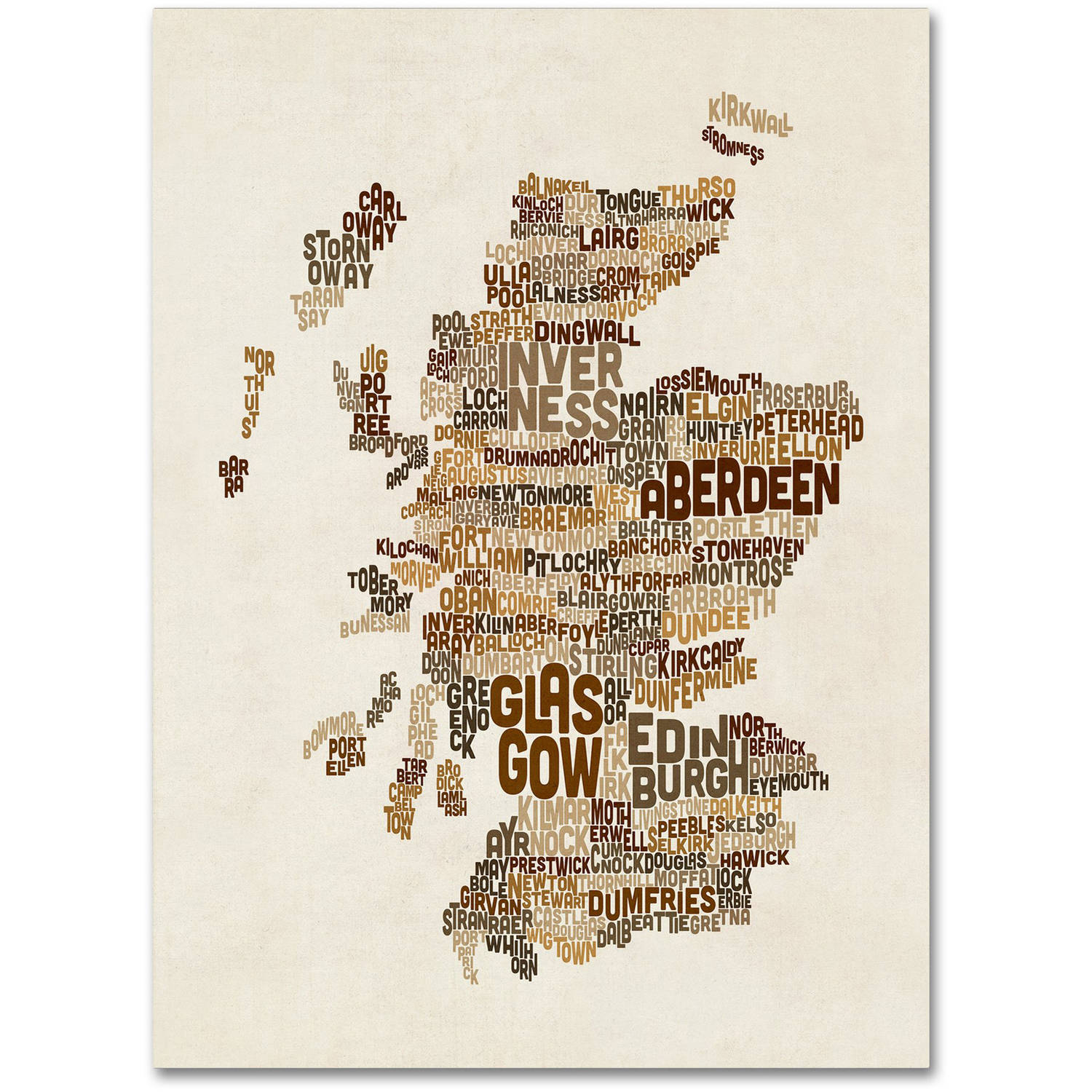 "Trademark Fine Art ""Scotland Typography Text Map 3"" Canvas Art by Michael Tompsett"