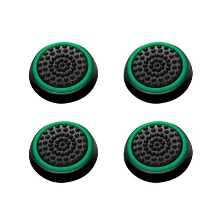 Insten 4pcs Black/Green Silicone Thumb Thumbstick Grips Analog Stick Cover Caps for Xbox 360 Xbox One PS4 PS3 PS2 Sony PlayStation 2 3 4 Controller