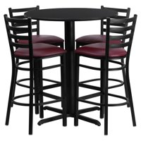 Flash Furniture 30'' Round Black Laminate Table Set with 4 Ladder Back Metal Barstools, Black Vinyl Seat Black