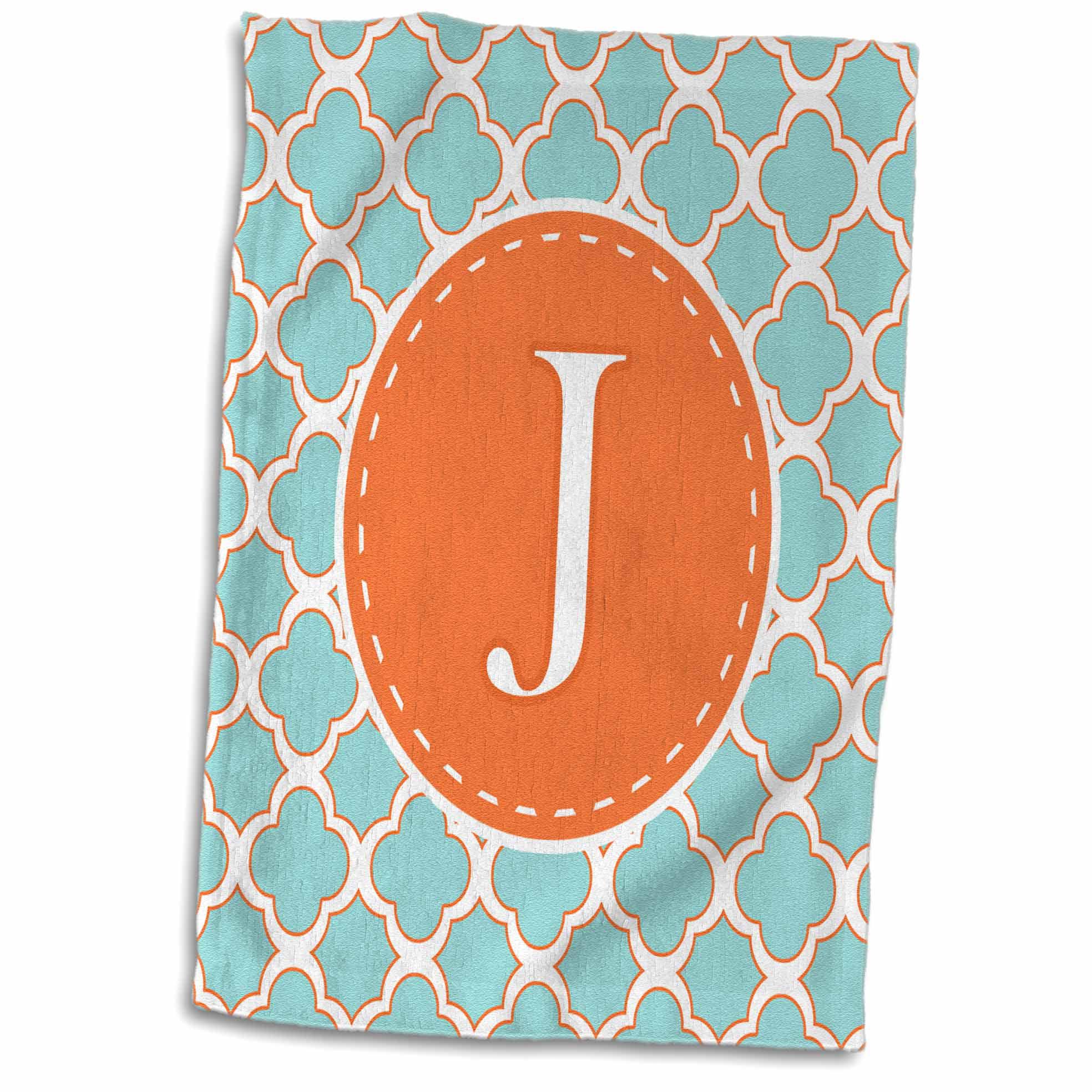 3dRose Letter J Monogram Orange and Blue Quatrefoil Pattern - Towel, 15 by 22-inch