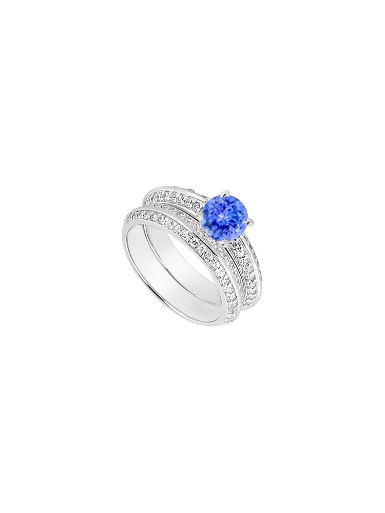 14K White Gold Created Tanzanite Cubic Zirconia Engagement Ring with Wedding Band Sets 1.00 CT by Love Bright