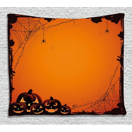 Halloween Decorations Tapestry, Grunge Spider Web Pumpkins Horror Time of Year Trick or Treat Decor, Wall Hanging for Bedroom Living Room Dorm Decor, 60W X 40L Inches, Orange Black, by - Dorm Door Decorations For Halloween