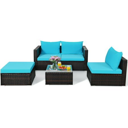 Gymax 5PCS Cushioned Rattan Patio Conversation Set w/ Coffee Table Ottoman - image 3 of 10