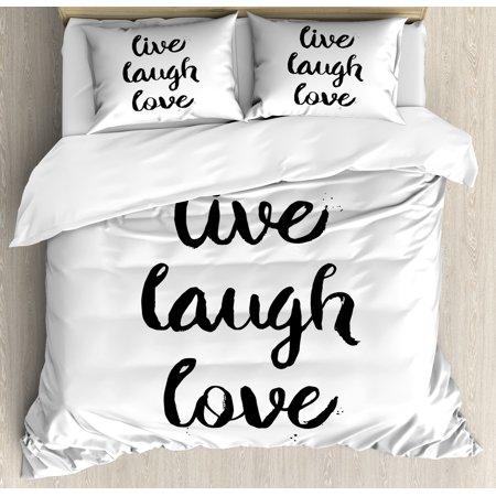 Live Laugh Love Queen Size Duvet Cover Set Inspirational