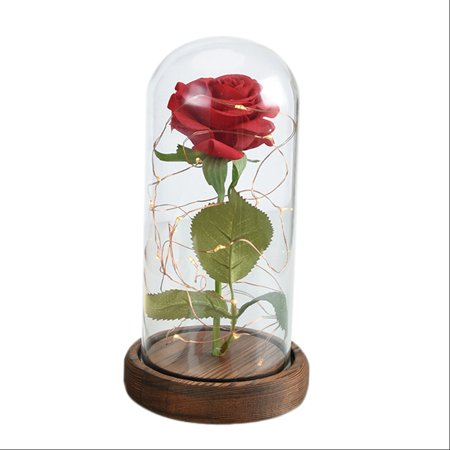Enchanted Rose Light Up Glass Dome Beauty And The Beast Led Red Prop