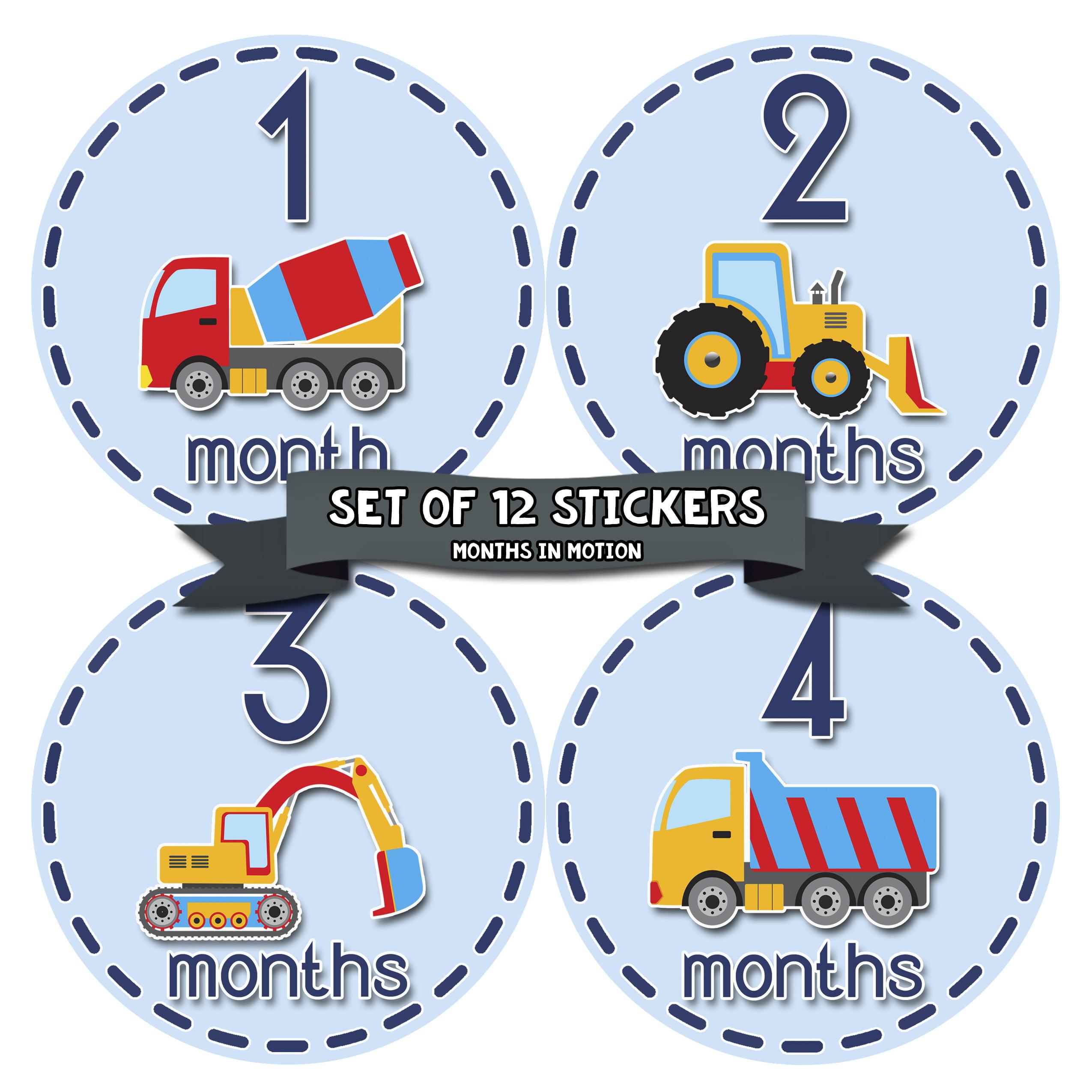 Months in Motion 810 Monthly Baby Stickers Construction Trucks Baby Boy Month 1-12 Milestone Age Sticker Photo Prop