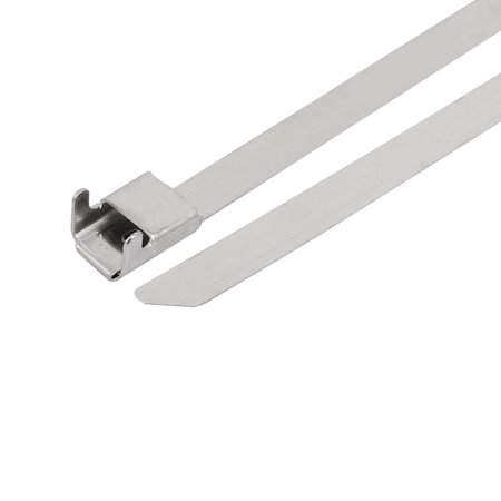 5pcs 8mm Wide 500mm Long L Type Buckle Stainless Steel Cable Tie Silver Tone - image 1 de 3