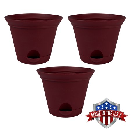 3 Pack 9.5 Inch Salsa Red Plastic Self Watering Flare Flower Pot or Garden Planter ()